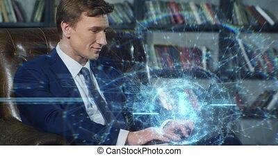 Beautiful Hologram Slow Motion Portrait Successful Businessman Working with Futuristic Technological Blue Hologram on Laptop. Business Concept. Businessman Series 4K UHD 4096x2160 3d animation.