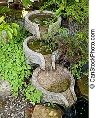 Beautiful decorative home garden carved stone waterfall pond