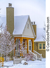 Beautiful home in Daybreak blanketed with snow
