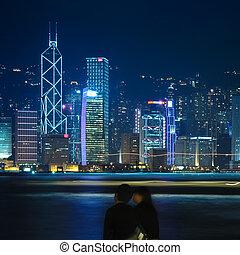 beautiful hong kong at night