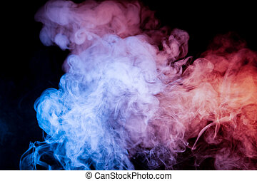 Beautiful horizontal column of smoke in the neon bright light of blue pink and orange on a black background exhaled out of the vape, mocap and print for t-shirt.
