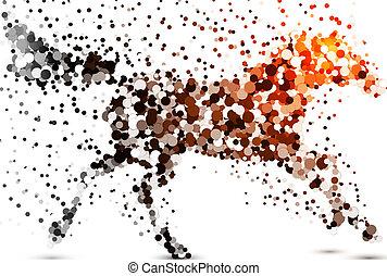 Beautiful horse - abstract dot illustration.