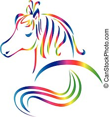 Beautiful horse logo - Graceful horse tattoo rainbow color...