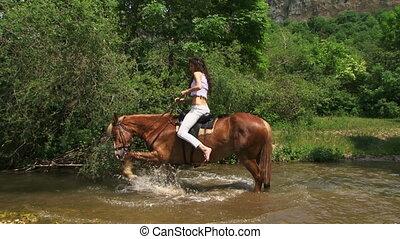 Beautiful horsewoman crossing a river