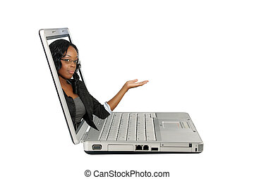 Beautiful Hostess on a Laptop Screen (2) - A lovely young...