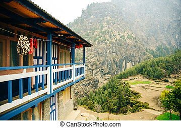 Beautiful hotel building placed in the hillside nice view of Mount , Nepal
