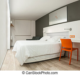 Beautiful hotel room with modern design.