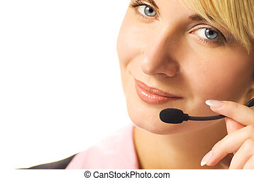 Beautiful hotline operator with headset isolated on white ...