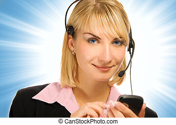 Beautiful hotline operator with cellphone in her hands on abstract background