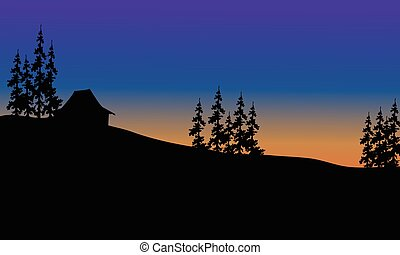 Beautiful house on the hills of silhouette