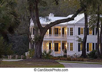 beautiful house - beautiful white house lit up at twilight