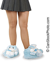 beautiful house slippers on a white background