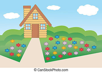 house  with a flowering garden