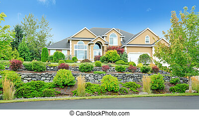 Beautiful house with landscape in Washington state during ...