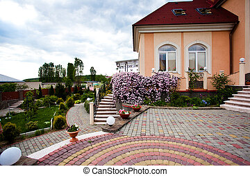 Beautiful house yard with different plants