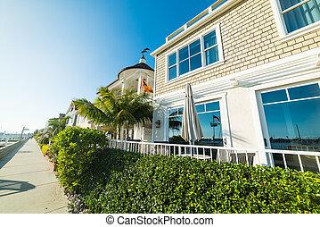 Beautiful houses by the sea in Balboa island