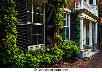 Beautiful houses in Beacon Hill, Boston, Massachusetts.