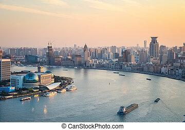 beautiful huangpu river at dusk
