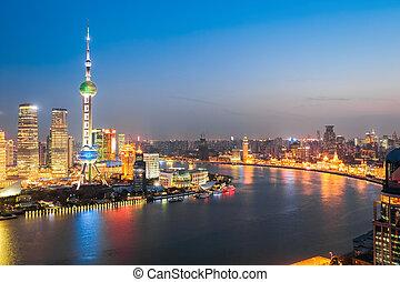 beautiful huangpu river at night in shanghai