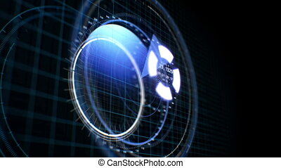 Beautiful HUD 3d Animation. Futuristic Target Scanner with...