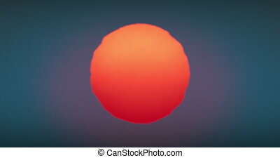 Beautiful Huge Red Sunset-Sunrise Sun Close-up Animation Seamless. Big Red Hot Sun Glowing in Warm Distortion Above Horizon Looped. 4k Ultra HD 4096x2160
