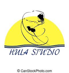 Beautiful Hula studio icon. - Hawaii vector logo design...