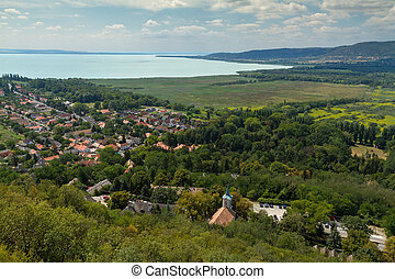Beautiful Hungarian landscape from a lake Balaton, near the small village Szigliget