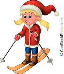 Beautiful Ice Skater Girl in Red Jacket With Brown Board And Stick Cartoon