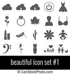 Beautiful. Icon set 1. Gray icons on white background.