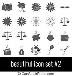 Beautiful. Icon set 2. Gray icons on white background.
