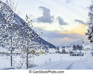 Beautiful idyllic path in village in Framfjorden, Vestland Norway.