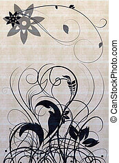 Beautiful illustrated flower design with background pattern