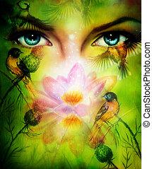 beautiful illustration, blue goodness women eyes beaming up ench