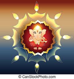 beautiful illustration of hindu lord ganesh