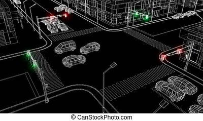 Beautiful Illustration of Modern City Crossroads with...