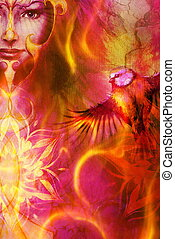 beautiful illustration women and mandala in fire, with birds...