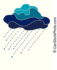 Beautiful in blue tones cloud with raindrops, isolated on white