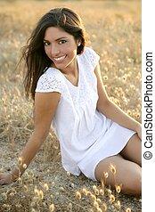 Beautiful indian brunette in a golden field - Beautiful ...