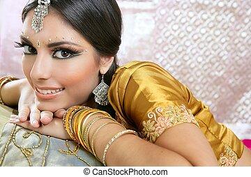 Beautiful indian brunette traditional fashion style