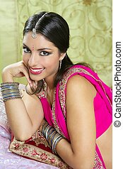 Beautiful indian brunette woman portrait