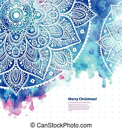 Beautiful Indian Lace ornament with a vector watercolor backgrou