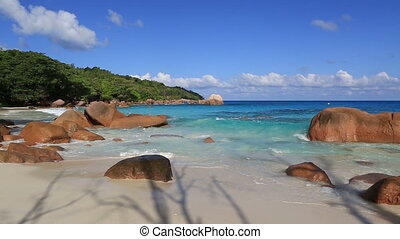Beautiful Indian Ocean on the beach of Anse Lazio.