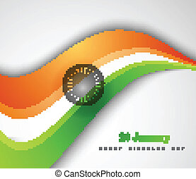 beautiful indian stylish flag wave colorful design art vector