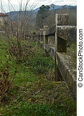 Beautiful Infinite Fence On A Farm In The Gorbeia Natural Park. Architecture Nature Landscapes. March 26, 2018. Gorbeia Natural Park. Urigoiti Basque Country. Spain.