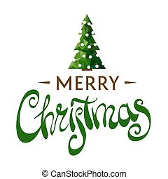 Beautiful inscription Merry Christmas with a Christmas tree