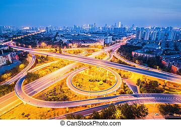 beautiful interchange road at night - beautiful city ...