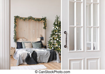Beautiful interior of bedroom before Christmas