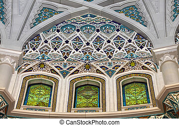 Beautiful interior of the Sultan Qaboos Grand Mosque in...