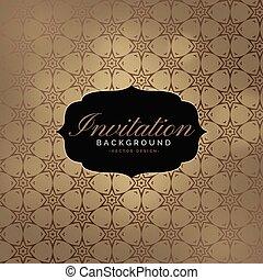 beautiful invitation background with pattern design