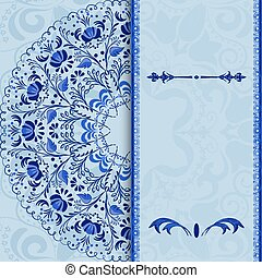 Beautiful invitation card with a blue floral pattern...